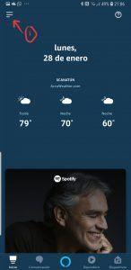 Calendario de google en alexa app
