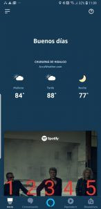 Pantalla de inicio de alexxa app