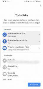 Configuración de google home app